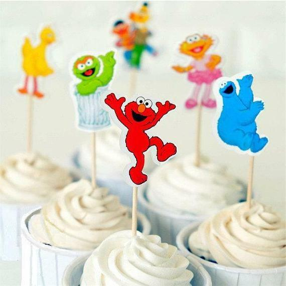 24 pc sesame street cupcake theme toppers