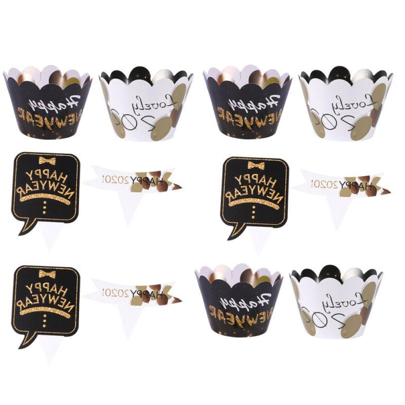 24 Pcs Fashion Charming Cupcake Toppers Wrappers Party Favor