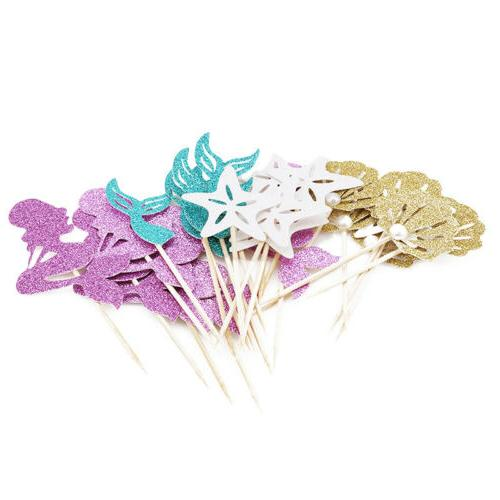 24pcs Mermaid Theme Cupcake Toppers Cake for