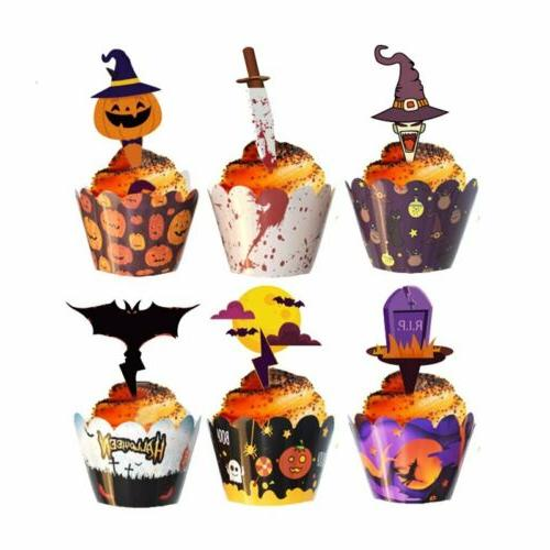 24 pcs halloween cupcake toppers cupcake wrappers