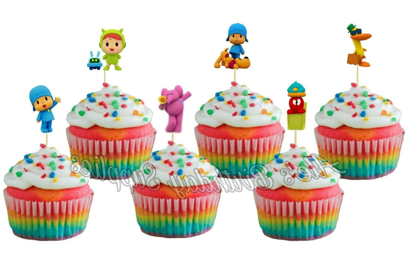 24 pcs pocoyo cupcake toppers birthday party