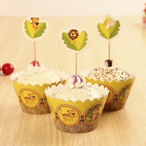 24 PCs Safari Animal zoo Cupcake  Toppers and wrappe / Birth