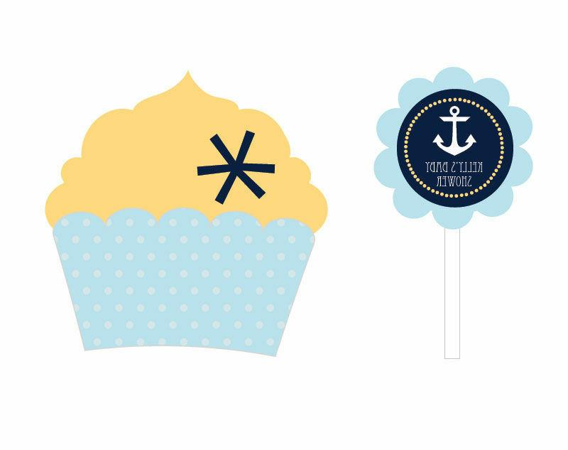24 personalized nautical theme cupcake wrappers toppers