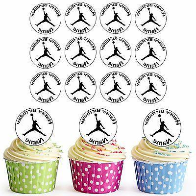 24 Pre-Cut Basketball Micheal Jordan Edible Cupcake Toppers