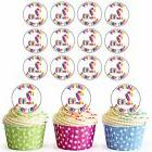 24 Pre-Cut Happy 2nd Birthday Cupcake Toppers Decorations Da