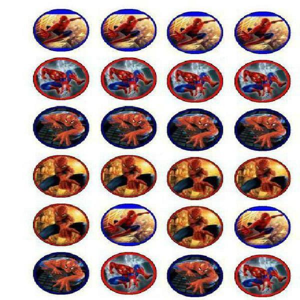 24 Spiderman Cupcake Toppers