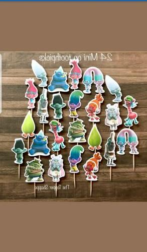 24 trolls movie cupcake toppers birthday party