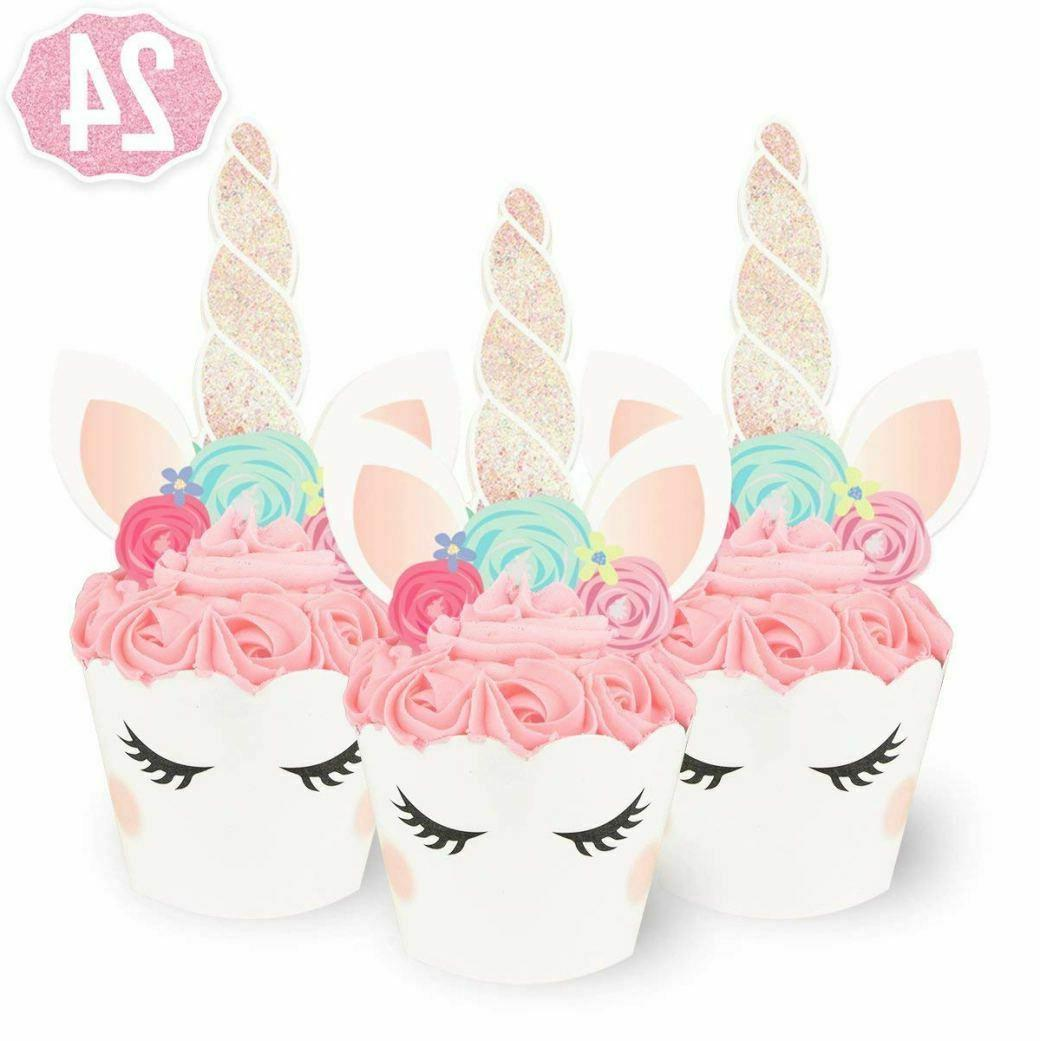 24 unicorn cupcake wrappers and toppers 24