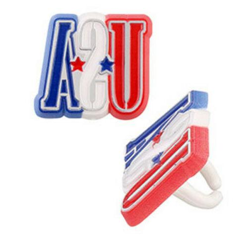 24 USA Letter Cupcake Rings Cake Toppers Decorations Party S