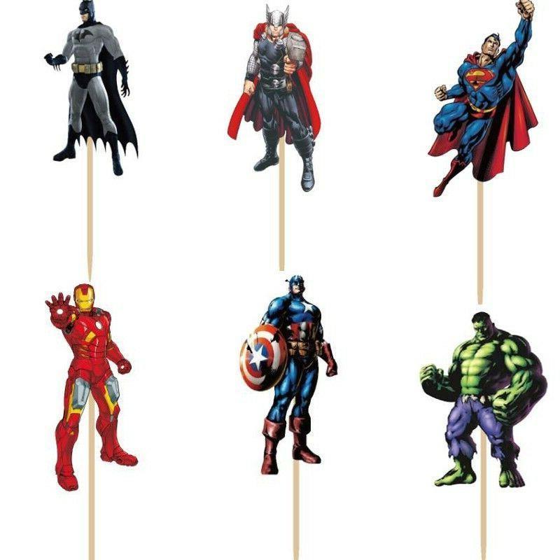 24pc Superheros Topper Picks fun