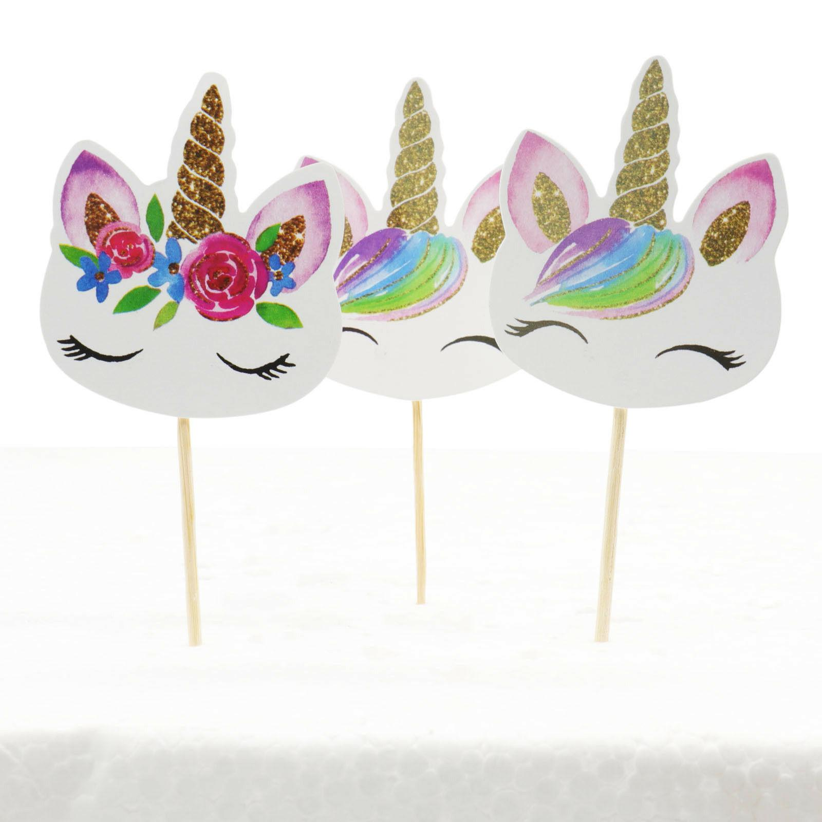 24pcs Unicorn Party Cake Toppers Edible Wafer Paper Cake Top