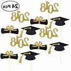 BESTOYARD 24Pcs 2018 Graduation Cap Cupcake Toppers Diploma
