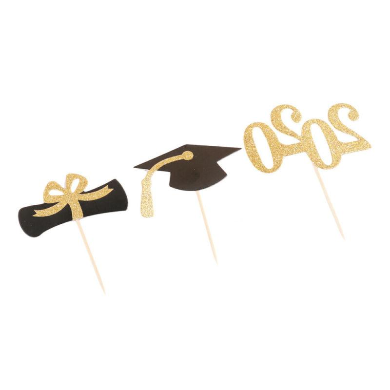 24pcs 2020 Cake Topper Graduation Glitter Paper Supplies for Party