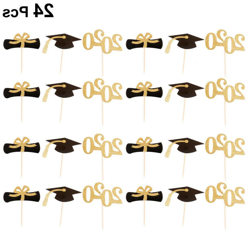 24pcs 2020 glitter cupcake toppers decoration