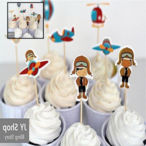 24pcs Retro Airplane Cupcake Toppers Cake Decorations Picks