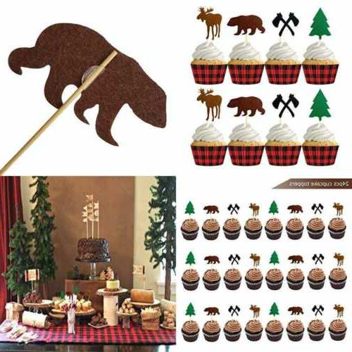24pcs camping cupcake toppers woodland lumberjack birthday