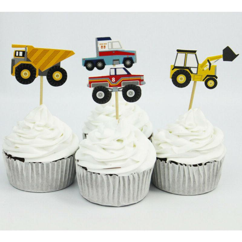 24pcs Cartoon Cars Cupcake Toppers Picks Birthday Party Deco