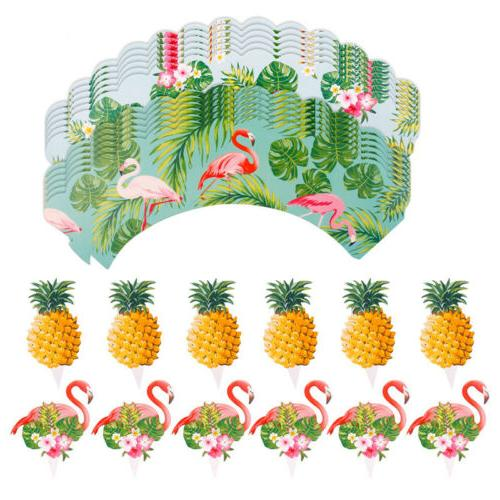 24PCS Pineapple Wrappers Cake Topper Luau
