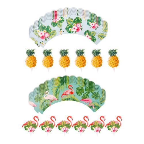 24PCS Pineapple Wrappers Cake Summer Party Decor