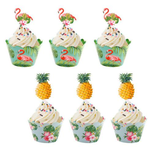 24PCS Wrappers Cake Topper Luau Summer Party Decor