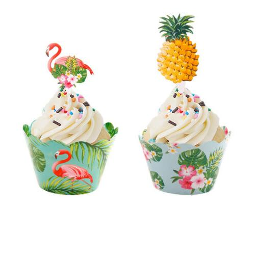 24PCS Flamingo Pineapple Wrappers Cake Summer