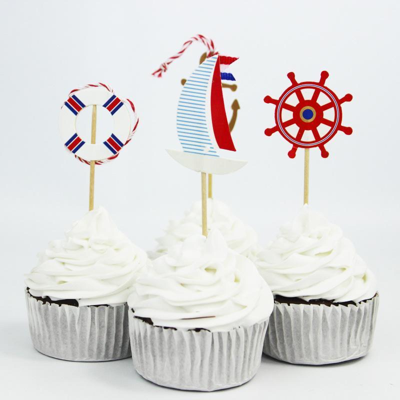 QWWSS <font><b>Navy</b></font> Anchor <font><b>Cupcake</b></font> <font><b>Topper</b></font> For Boy Birthday Nautical Party Baby