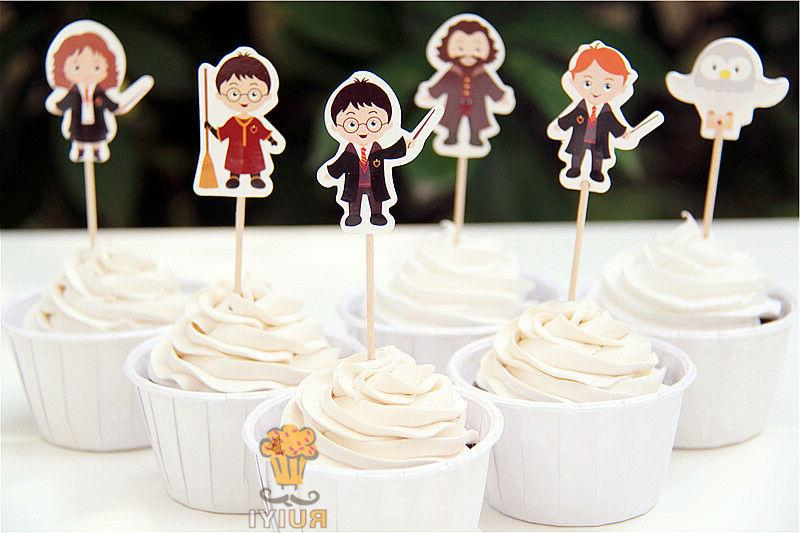 24pcs Harry Potter Cupcake Toppers Birthday Baby Shower Part