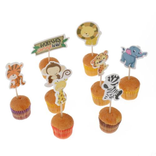 24pcs Jungle Safari Zoo Animal Cupcake Toppers Picks Baking