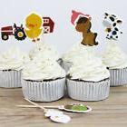 24pcs/lot Farm Animal Theme Party Cupcake Toppers Pick Kid B