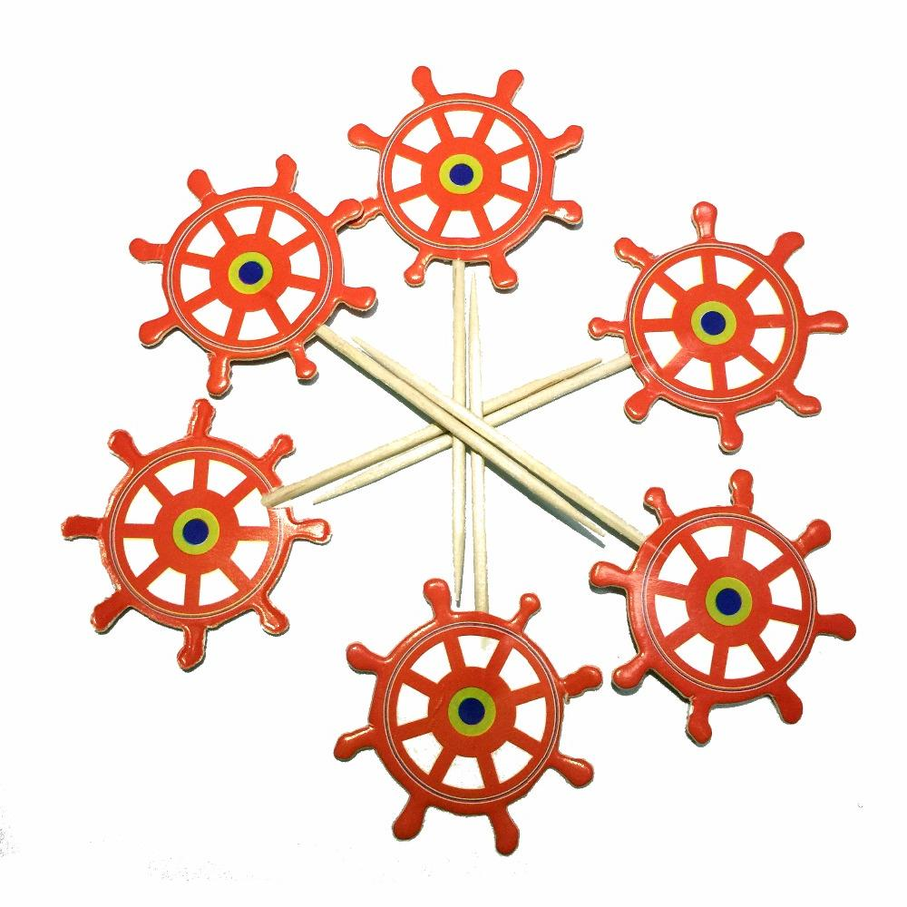 24pcs Mediterranean Anchor <font><b>Cupcake</b></font> <font><b>Topper</b></font> Beach Ocean picks for Decor Supplies