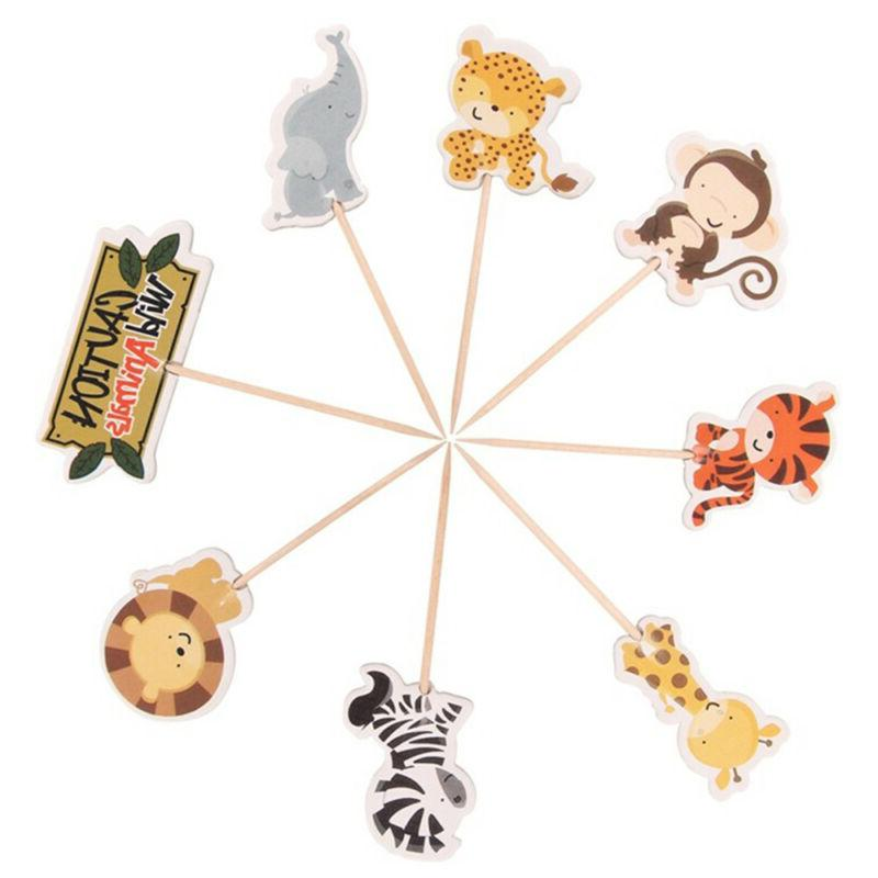 24pcs Safari Jungle Cupcake Toppers Picks Party