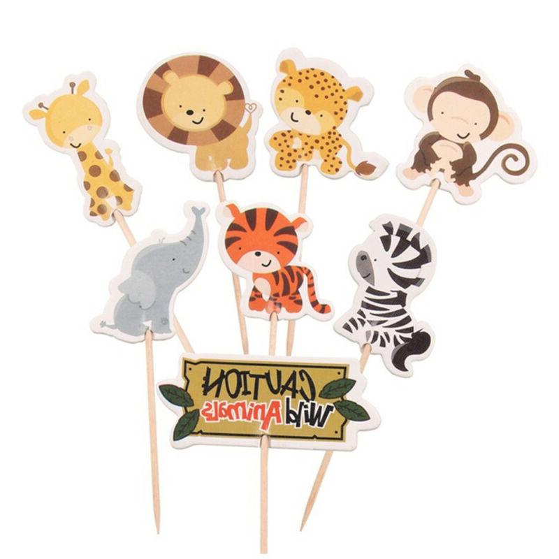 24pcs Safari Cupcake Toppers Party