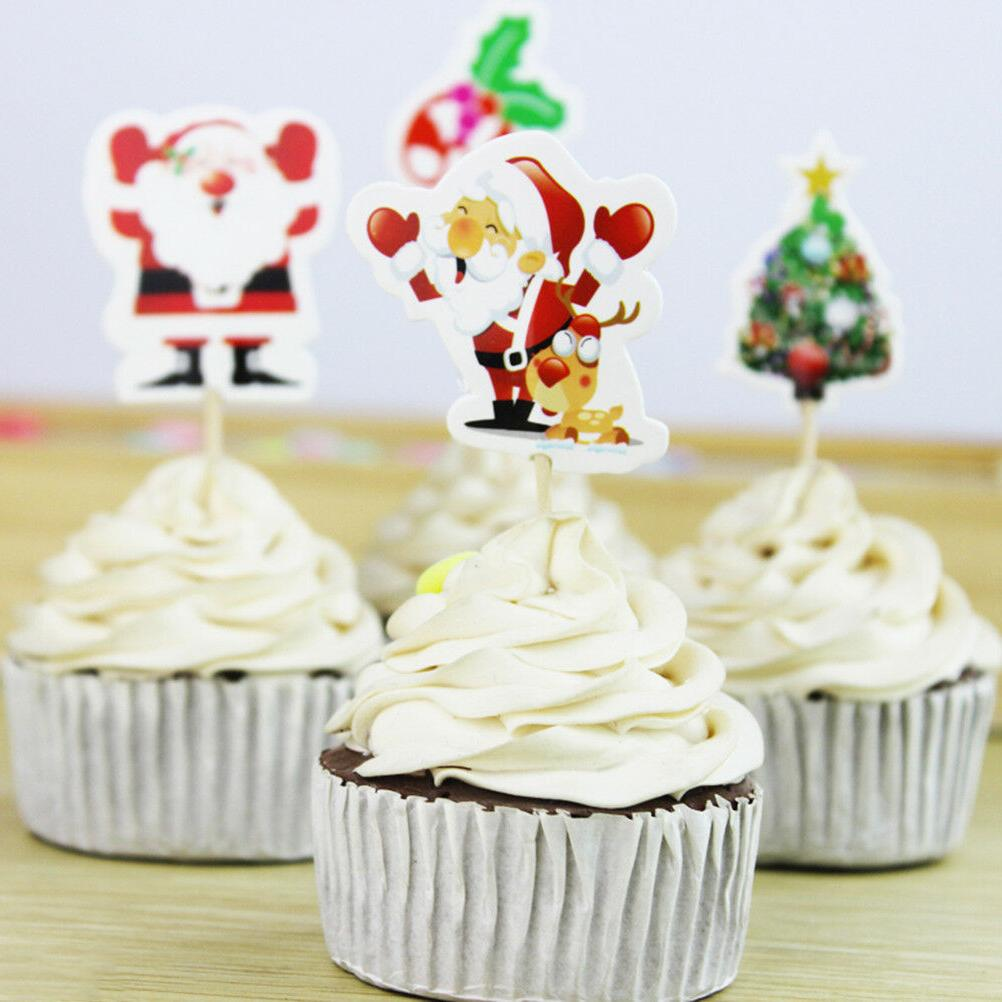 24pcs Santa Cake Picks Xmas