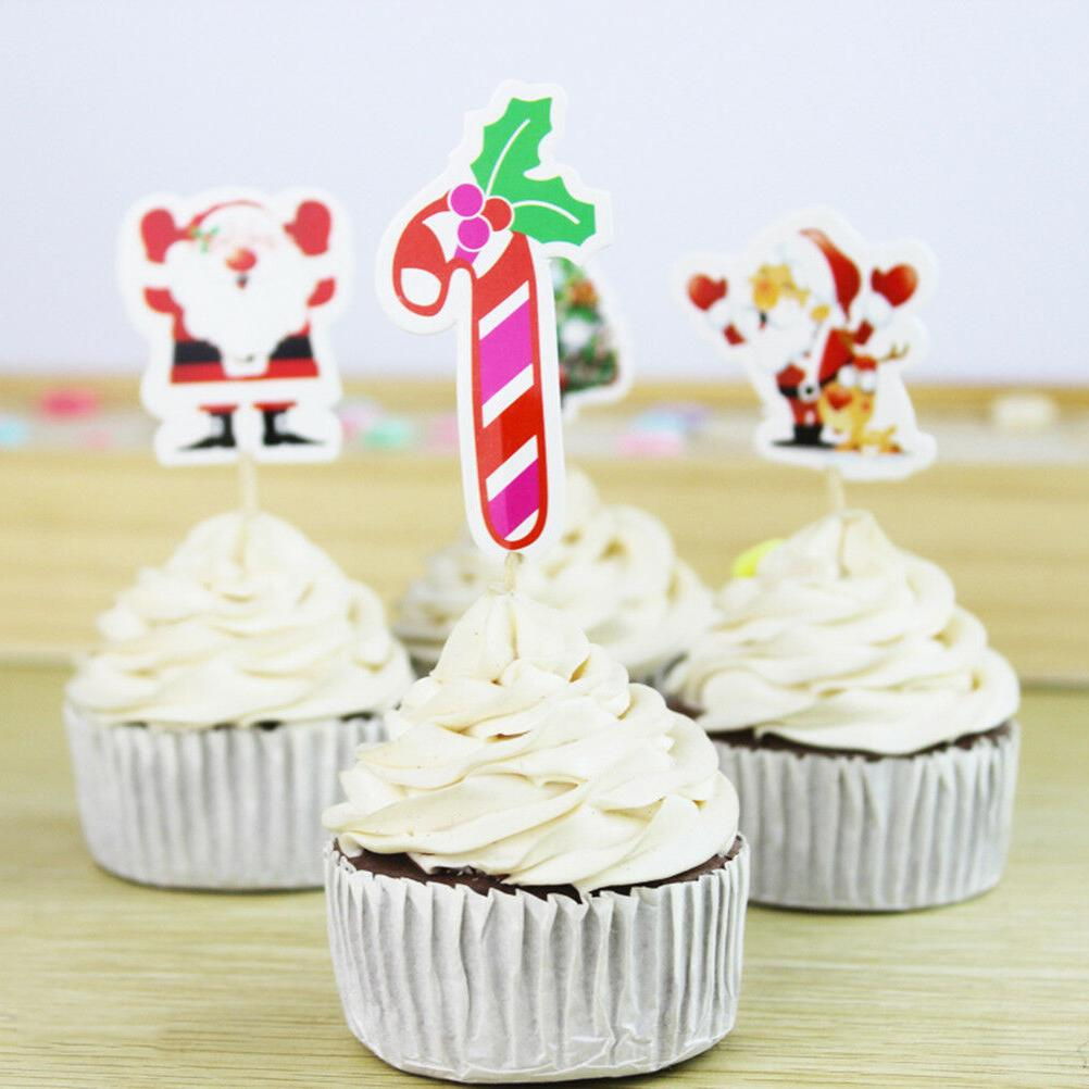 24pcs Santa Claus Cake Cupcake Picks Decoration