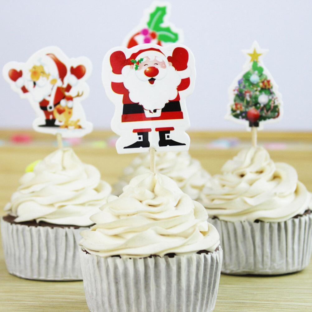 24pcs Santa Cake Topper Picks Decoration