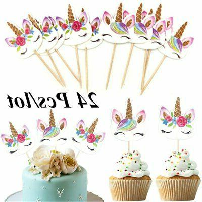 24Pcs Unicorn Cupcake Toppers Cake Insert Pick Birthday Party Decor#G