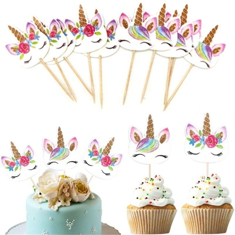 24Pcs Unicorn Pick Baby Birthday Cake