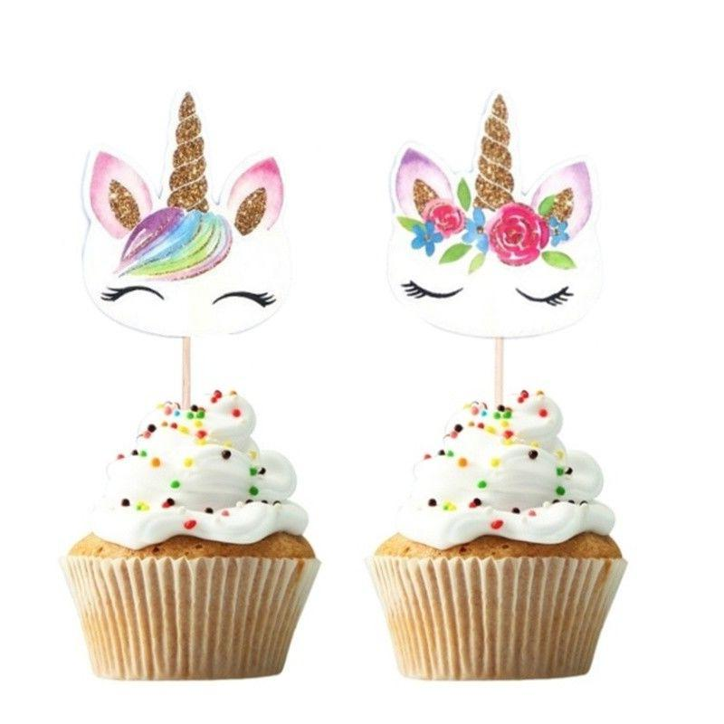 24Pcs Unicorn Cupcake Pick Wedding Birthday Party Cake Decor