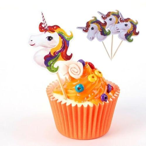 24pcs Unicorn Cupcake Toppers Picks Kids Birthday Party Baby