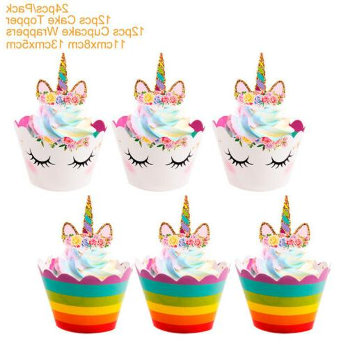 24PCS Unicorn Wrappers Rainbow Baby