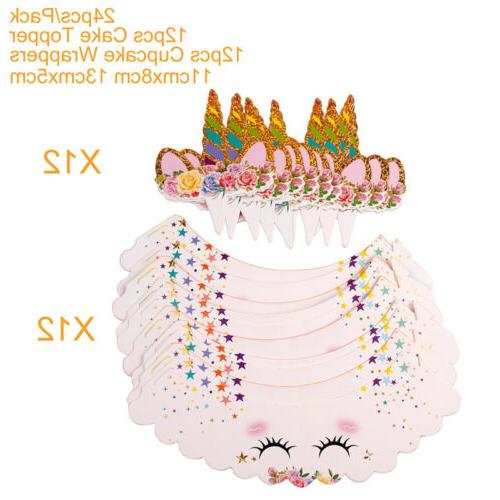 24PCS Unicorn Wrappers Shower Kids Birthday