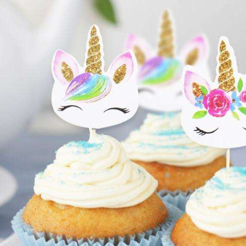 24pc unicorn cupcake toppers edible wafer paper