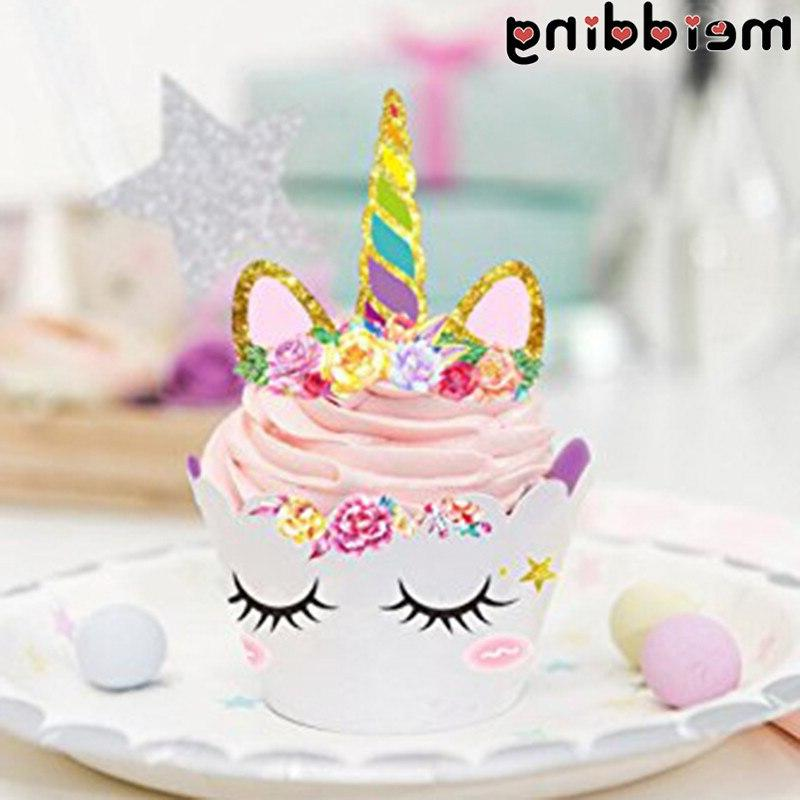 MEIDDING 24Pcs <font><b>Kit</b></font> Rainbow +<font><b>Cupcake</b></font> Birthday Party Baby Party
