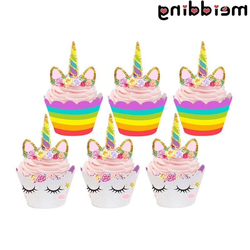 MEIDDING <font><b>Kit</b></font> Rainbow Cake <font><b>Toppers</b></font> +<font><b>Cupcake</b></font> Party Baby Shower Unicorn Party Supplies