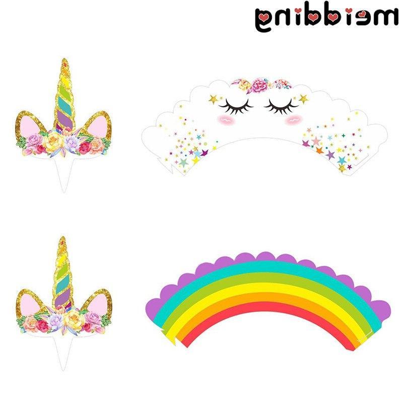 MEIDDING 24Pcs Unicorn Party <font><b>Kit</b></font> Cake +<font><b>Cupcake</b></font> Party Supplies