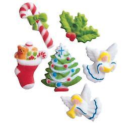 24pk Deluxe Christmas 1- 7/8inch Edible Sugar Cupcake Topper