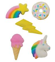 24pk rainbow unicorn donut party 1inch 1