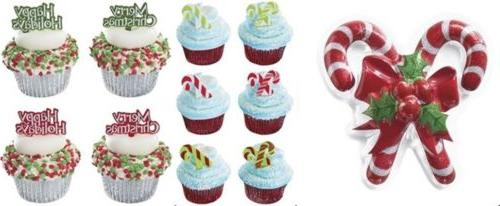 25pc Candy Cane Cupcake Picks Topper  Merry Christmas Happy