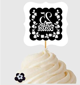 25th Birthday / Anniversary Blessed Cupcake Decoration Toppe