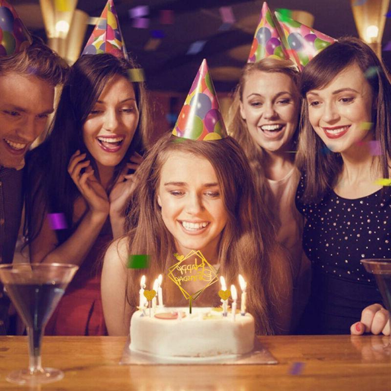 26 Happy Birthday Acrylic Cake Stick Topper Cupcake Dessert Decor AAA